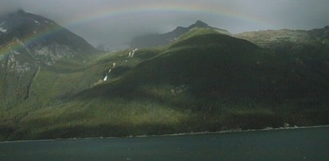 Rainbow over Alaskan mountains